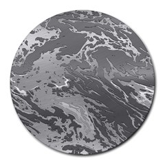 Metal Art Swirl Silver Round Mousepads by MoreColorsinLife