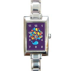 Colorful Happy Whale Rectangle Italian Charm Watches by CreaturesStore