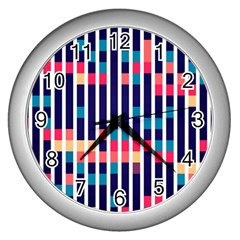 Stripes And Rectangles Pattern Wall Clock (silver) by LalyLauraFLM