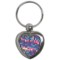 Stripes And Rectangles Pattern Key Chain (heart) by LalyLauraFLM