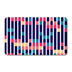 Stripes And Rectangles Pattern Magnet (rectangular) by LalyLauraFLM