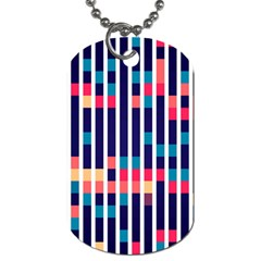 Stripes And Rectangles Pattern Dog Tag (two Sides) by LalyLauraFLM