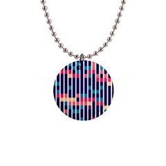 Stripes And Rectangles Pattern 1  Button Necklace by LalyLauraFLM