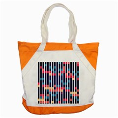 Stripes And Rectangles Pattern Accent Tote Bag by LalyLauraFLM