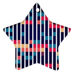 Stripes And Rectangles Pattern Star Ornament (two Sides) by LalyLauraFLM