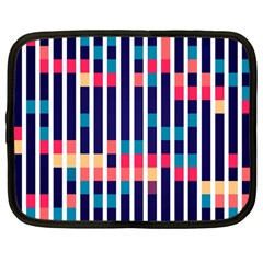 Stripes And Rectangles Pattern Netbook Case (large)	 by LalyLauraFLM
