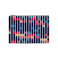Stripes And Rectangles Pattern Cosmetic Bag (medium) by LalyLauraFLM