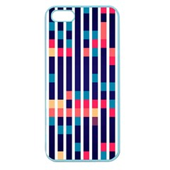 Stripes And Rectangles Pattern Apple Seamless Iphone 5 Case (color) by LalyLauraFLM