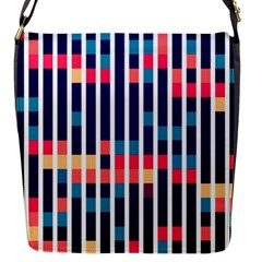 Stripes And Rectangles Pattern Flap Closure Messenger Bag (s) by LalyLauraFLM