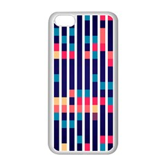 Stripes And Rectangles Pattern Apple Iphone 5c Seamless Case (white) by LalyLauraFLM