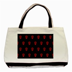 Skull Pattern Red Basic Tote Bag  by MoreColorsinLife