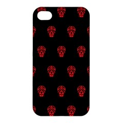 Skull Pattern Red Apple Iphone 4/4s Hardshell Case by MoreColorsinLife