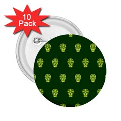 Skull Pattern Green 2 25  Buttons (10 Pack)  by MoreColorsinLife