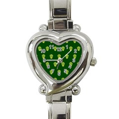 Skull Pattern Green Heart Italian Charm Watch by MoreColorsinLife