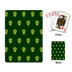 Skull Pattern Green Playing Card by MoreColorsinLife