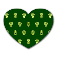 Skull Pattern Green Heart Mousepads
