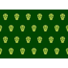 Skull Pattern Green Birthday Cake 3d Greeting Card (7x5)  by MoreColorsinLife