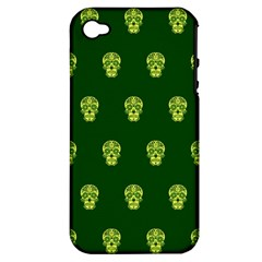 Skull Pattern Green Apple Iphone 4/4s Hardshell Case (pc+silicone) by MoreColorsinLife