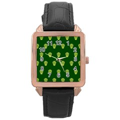 Skull Pattern Green Rose Gold Watches by MoreColorsinLife