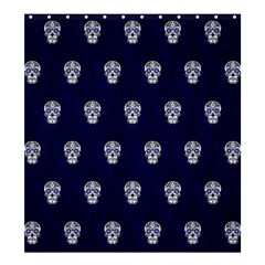 Skull Pattern Blue  Shower Curtain 66  X 72  (large)  by MoreColorsinLife