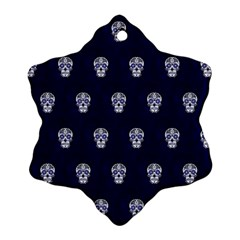 Skull Pattern Blue  Ornament (snowflake)  by MoreColorsinLife