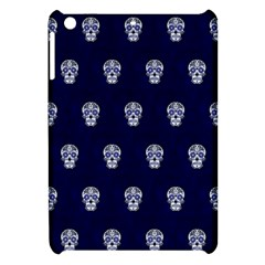 Skull Pattern Blue  Apple Ipad Mini Hardshell Case by MoreColorsinLife