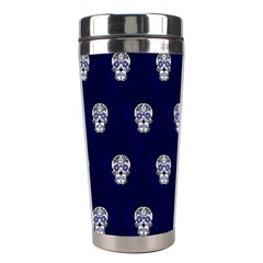 Skull Pattern Blue  Stainless Steel Travel Tumblers by MoreColorsinLife