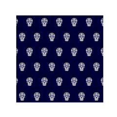 Skull Pattern Blue  Small Satin Scarf (square)  by MoreColorsinLife