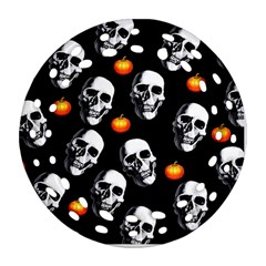 Skulls And Pumpkins Ornament (round Filigree)  by MoreColorsinLife