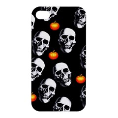 Skulls And Pumpkins Apple Iphone 4/4s Premium Hardshell Case by MoreColorsinLife