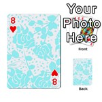 Floral Wallpaper Aqua Playing Cards 54 Designs  Front - Heart8
