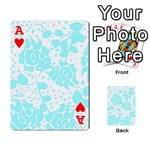 Floral Wallpaper Aqua Playing Cards 54 Designs  Front - HeartA
