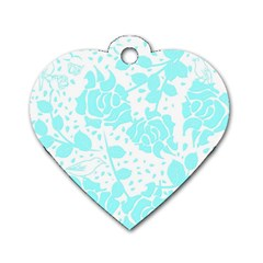 Floral Wallpaper Aqua Dog Tag Heart (one Side) by ImpressiveMoments