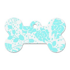Floral Wallpaper Aqua Dog Tag Bone (two Sides) by ImpressiveMoments