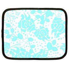 Floral Wallpaper Aqua Netbook Case (xl)  by ImpressiveMoments