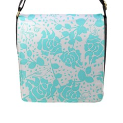 Floral Wallpaper Aqua Flap Messenger Bag (l)  by ImpressiveMoments