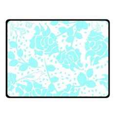Floral Wallpaper Aqua Double Sided Fleece Blanket (small)