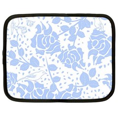 Floral Wallpaper Blue Netbook Case (xl)  by ImpressiveMoments