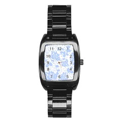 Floral Wallpaper Blue Stainless Steel Barrel Watch by ImpressiveMoments