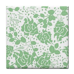 Floral Wallpaper Green Tile Coasters by ImpressiveMoments