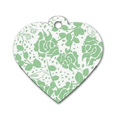 Floral Wallpaper Green Dog Tag Heart (two Sides) by ImpressiveMoments