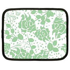 Floral Wallpaper Green Netbook Case (xl)  by ImpressiveMoments