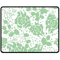 Floral Wallpaper Green Double Sided Fleece Blanket (medium)  by ImpressiveMoments
