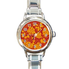 Floral Wallpaper Hot Red Round Italian Charm Watches by ImpressiveMoments