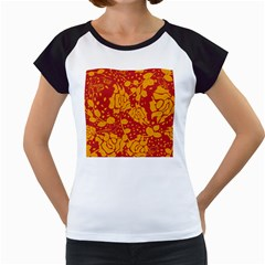 Floral Wallpaper Hot Red Women s Cap Sleeve T by ImpressiveMoments