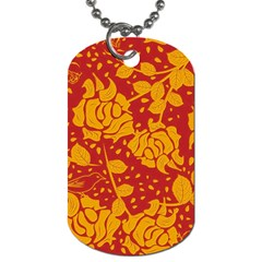 Floral Wallpaper Hot Red Dog Tag (one Side) by ImpressiveMoments