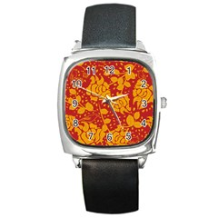 Floral Wallpaper Hot Red Square Metal Watches by ImpressiveMoments