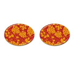 Floral Wallpaper Hot Red Cufflinks (oval) by ImpressiveMoments