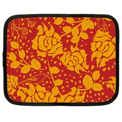 Floral Wallpaper Hot Red Netbook Case (xxl)  by ImpressiveMoments