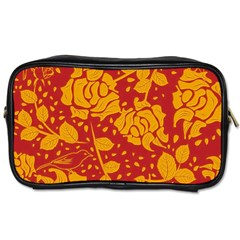 Floral Wallpaper Hot Red Toiletries Bags 2 Side by ImpressiveMoments